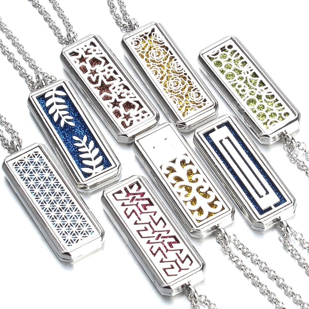Nuevo medallón de aroma cuadrado collar magnético de acero inoxidable aceite esencial de aromaterapia medallón con difusor de perfume colgante joyería