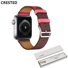 Bracelet en cuir à tour unique à crête pour bracelet de montre Apple 5 4 44mm 40mm bracelet iwatch série 3/2/1 42mm 38mm bracelet ceinture