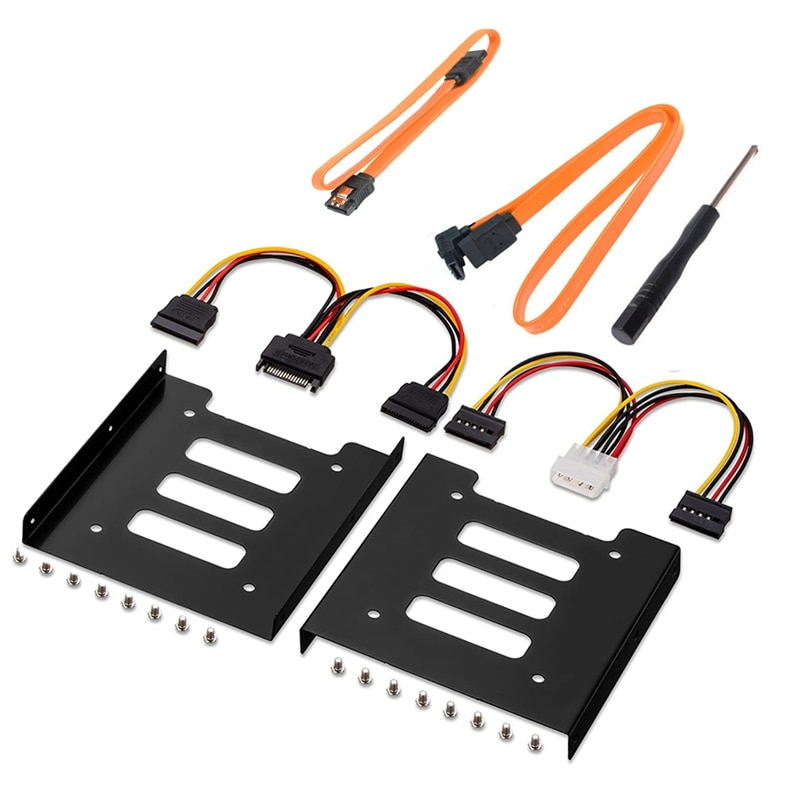2.5 Inch SSD to 3.5 Inch Internal Hard Disk Drive Mounting Kit with SATA Data Cables and Power Cables,SSD Bracket