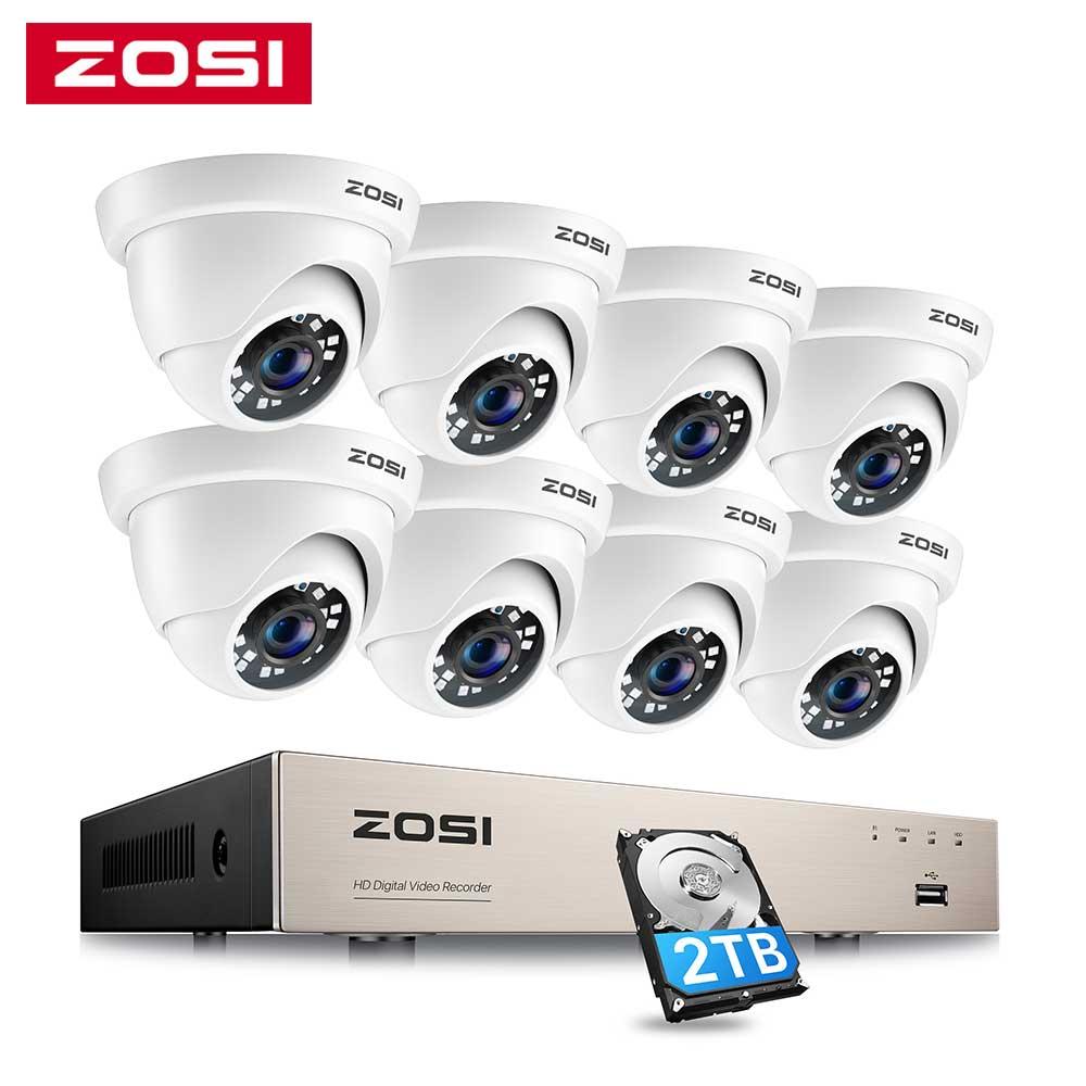 ZOSI 8CH 1080P الأمن نظام الكاميرا H.265 + 8CH 5MP لايت HD CCTV مسجل دي في أر 8 قطعة 2MP داخلي/خارجي قبة كاميرات المراقبة