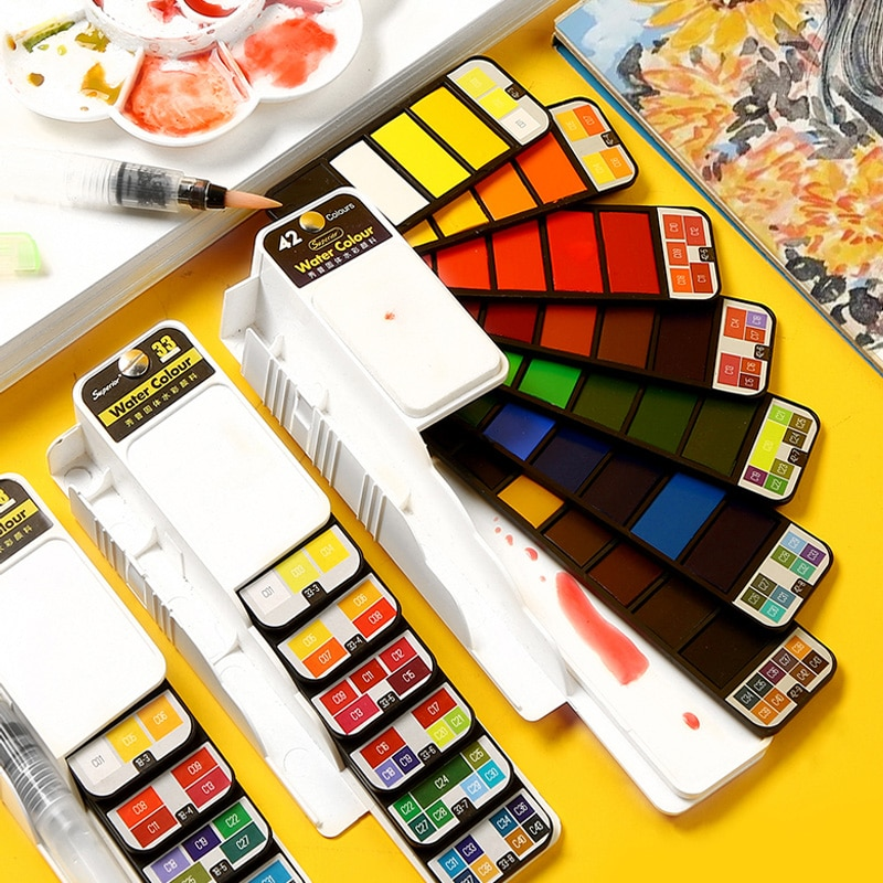 Superior Portable Solid Watercolor Paint Set With Water Brush Pen Water Color Paints Pigment for Painting Aquarelle Art Supplies