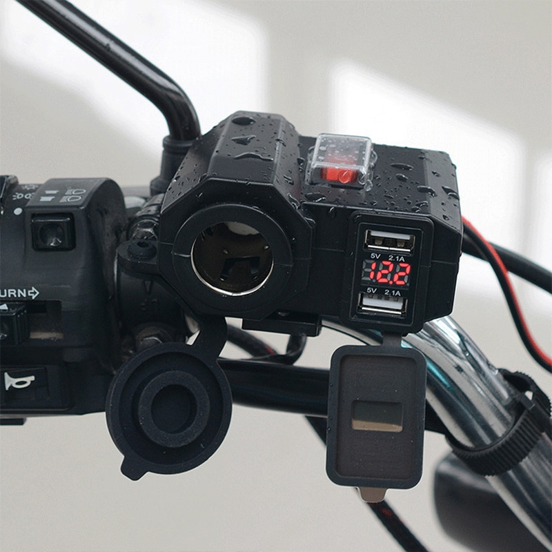 Cargador USB de motocicleta 12V/24V enchufe de cargador de teléfono Dual USB Moto cargador LED voltímetro interruptor a prueba de agua encendido/apagado de la luz del cigarrillo