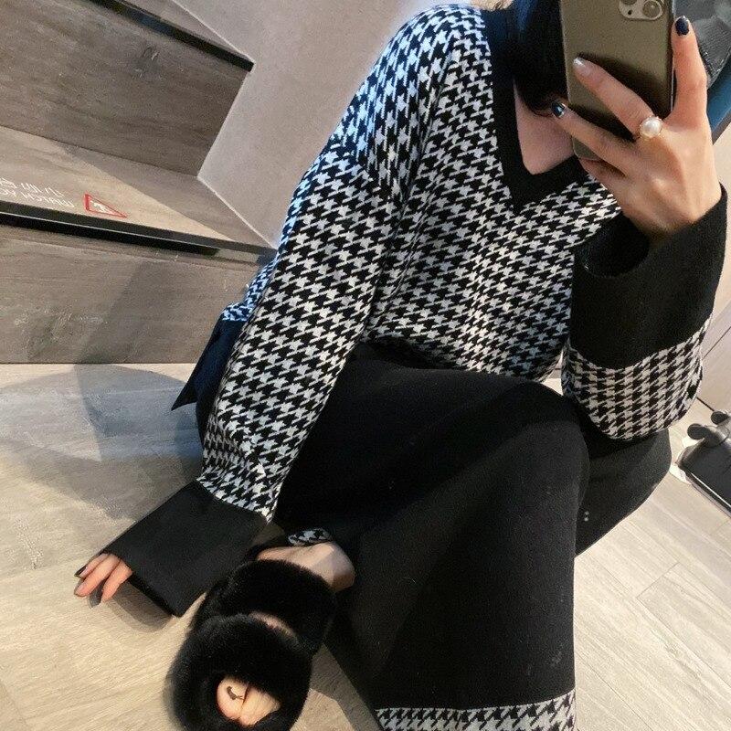 شتاء كوري موضة غير رسمي منقوشة 2 قطعة مجموعات إمرأة ملابس شيك البلوز البلوز لوحة علوية الحياكة + بنطال ذو قصة أرجل واسعة 2021