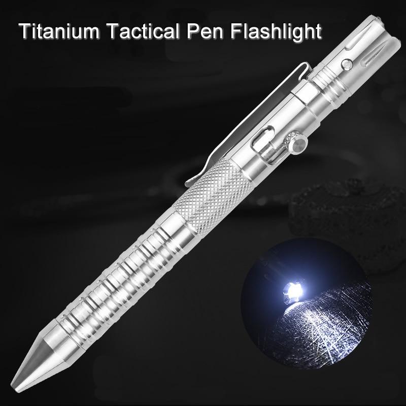 Multi Function Titanium Tactical Pen Flashlight Strobe Self Defense Emergency Window Hammer Outdoor Survival EDC Tool Gift недорого