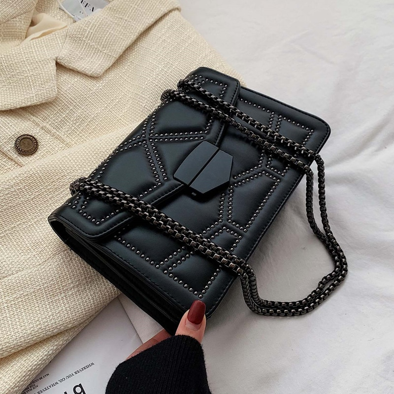 Rivet Chain Brand Designer PU Leather Crossbody Bags For Women 2021 Simple Fashion Shoulder Bag Lady