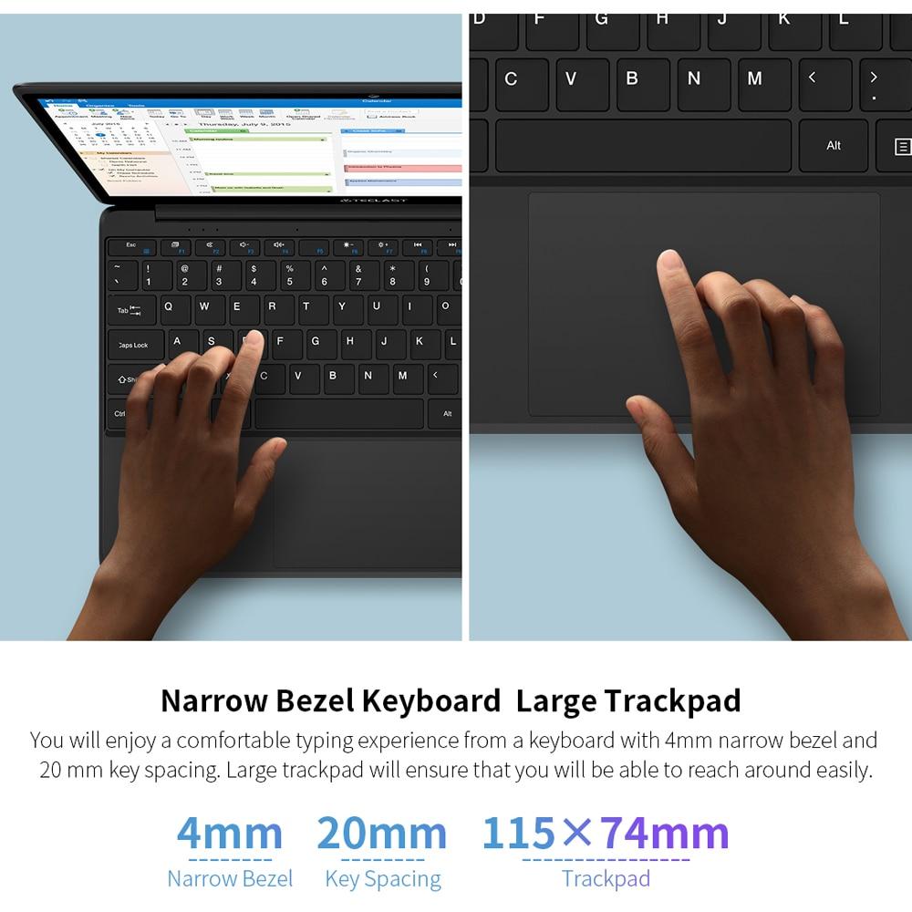 Newest Teclast laptop F6 Notebook 13.3 Inch Windows 10 OS Full HD 1920×1080 IPS 8GB LPDDR4 128GB SSD 38000mWh Battery Dual WiFi