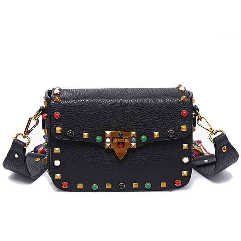 Fashion Mini PU Leather Women Crossbody Bags Rivet Vintage Shoulder Bag Designer Famous Brand Handbag Ladies Messenger Bags