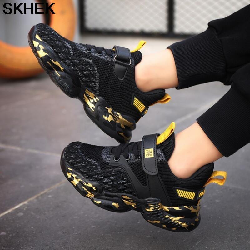 SKHEK New Kids Pu Leather Shoes Baby Girls Sport Sneakers Children Mesh Shoes Boys Fashion Casual Sh