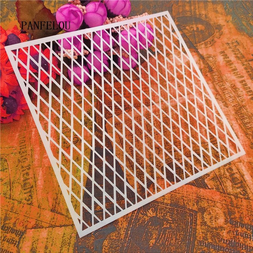13*13cm Venta caliente hipotenuse álbum de recortes plantillas espray plástico molde escudo DIY pastel hueco adorno impresión regla de encaje