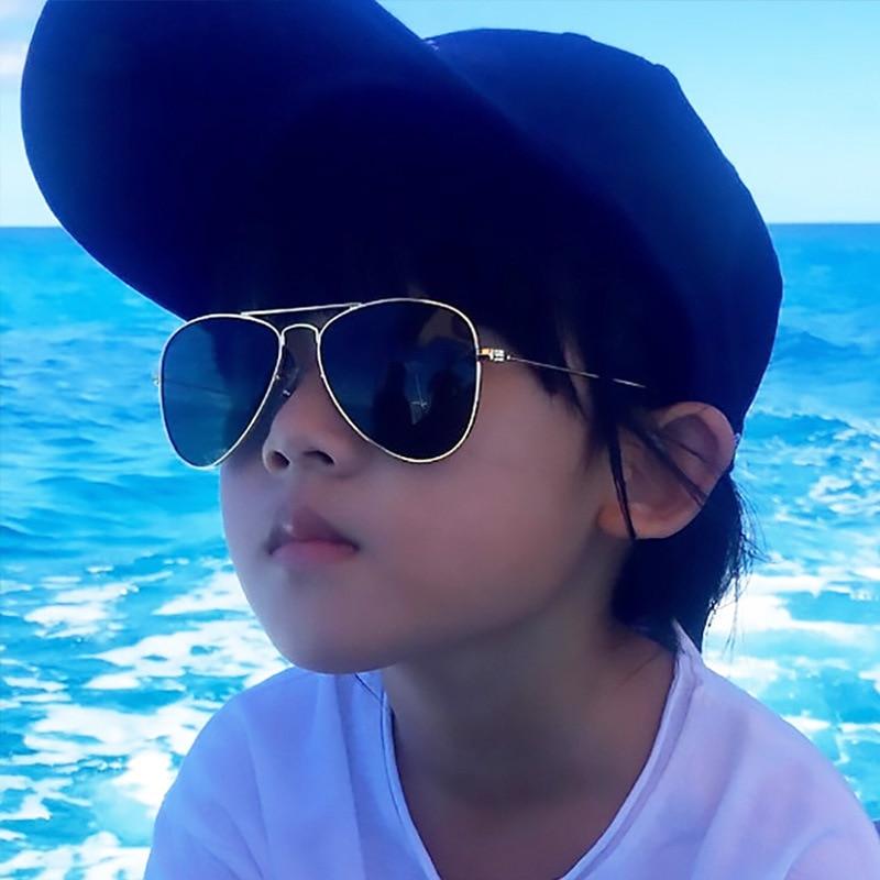 Retro Children Aviation Sunglasses UV400 Gold Frame Glasses Child Kids UV400 Pilot Sun glasses Outdo