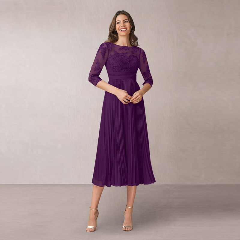 Hot Sale Charming Short Purple Lace Mother of the Bride Dresses Three Quarter Sleeves Wedding Party