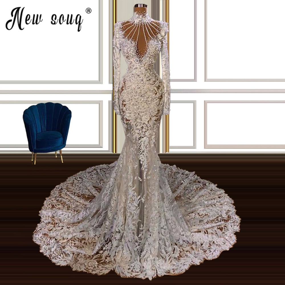 فستان زفاف من الدانتيل على شكل حورية البحر ، ياقة عالية ، أكمام طويلة ، لؤلؤ ، فستان طويل ، دبي ، مقاس كبير