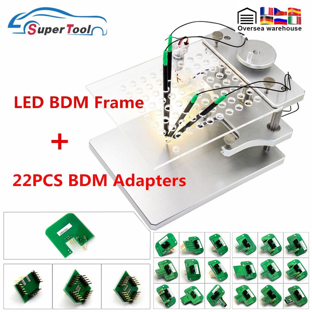 أفضل LED BDM الإطار الفولاذ المقاوم للصدأ 22 قطعة BDM محولات ل Kess Ktag FGTECH BDM100 + 4 التحقيق OBD2 ECU ضبط مبرمج إعادة خريطة أداة