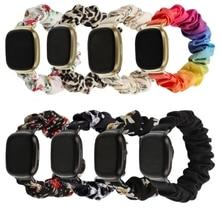 Elastic Fabric- Band for Fitbit- Versa 3 Women Girls Woven Strap Scrunchies Watch Band For Fibit- se