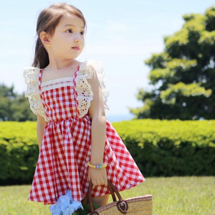Verano niñas vestidos mosca manga ropa de bebé princesa de encaje elástico Niño chico vestido de chico ropa azul rojo
