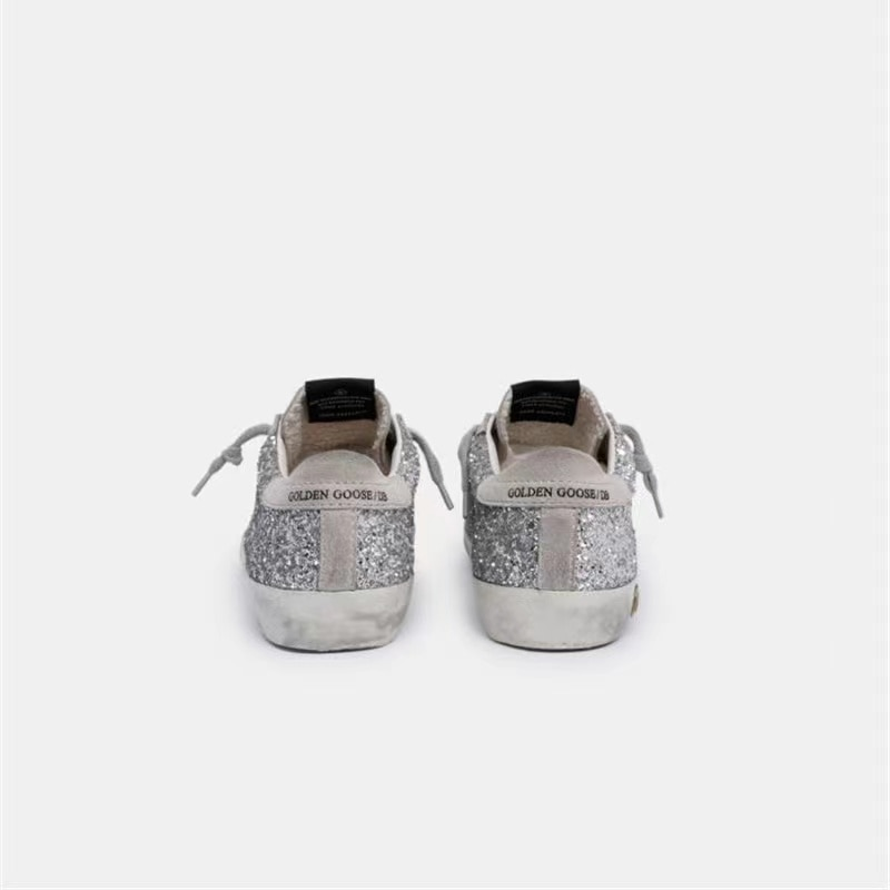 Children's New Spring and Summer First Layer Cowhide Old Small Dirty Shoes for Boys and Girls Silver Sequins Kids Sneakers CS185 enlarge