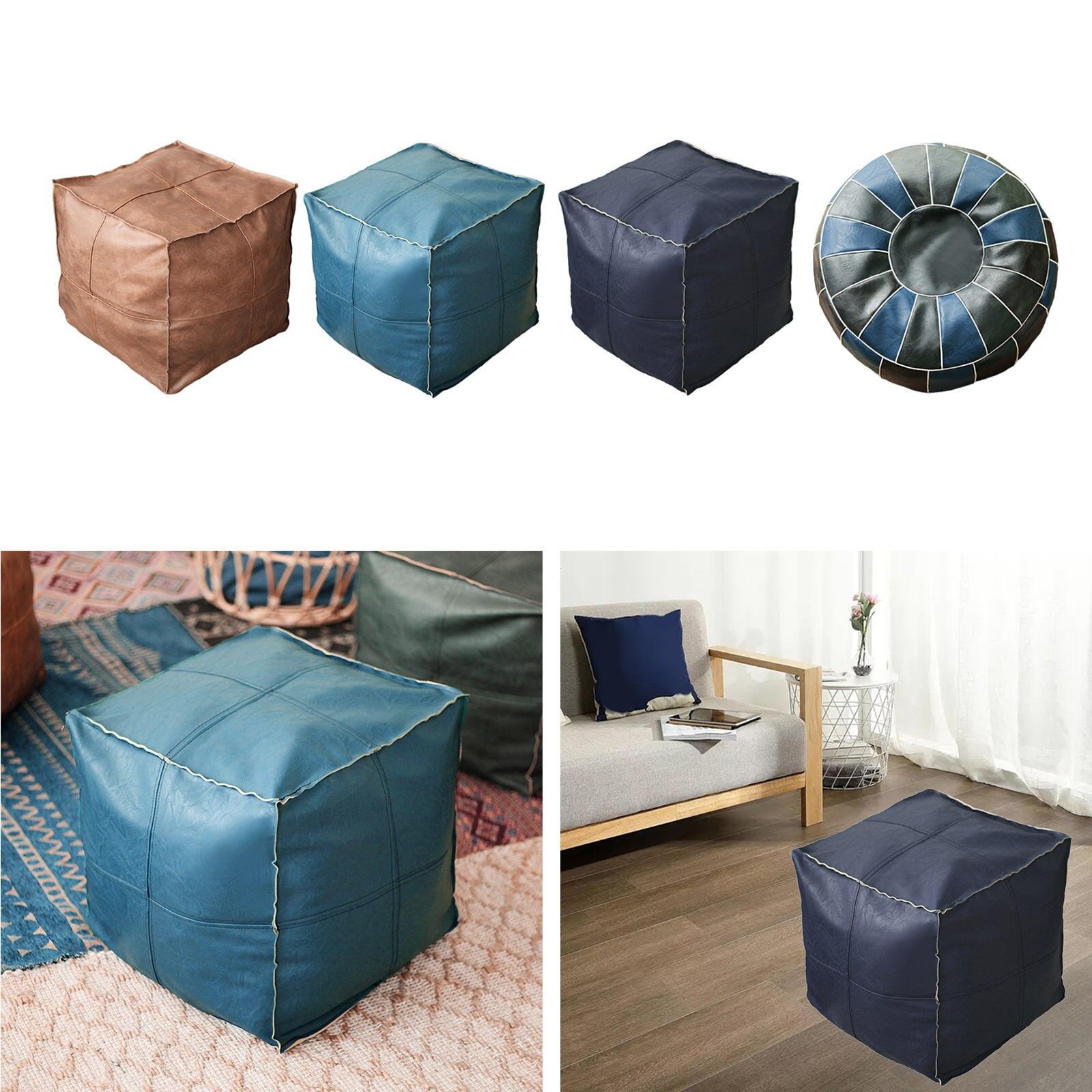 بوهو بولي Leather الجلود المغربي غطاء للمسندم المتكأ التخزين وسادة أرضية العثمانية غطاء البوهيمي ديكور المنزل