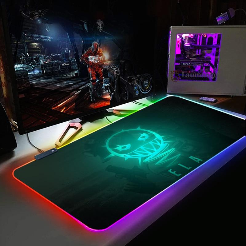 RGB Computer Luminous Gaming MousePad rainbow six siege Colorful Big Glowing LED Extended Illuminated Keyboard Non-Slip Desk Mat