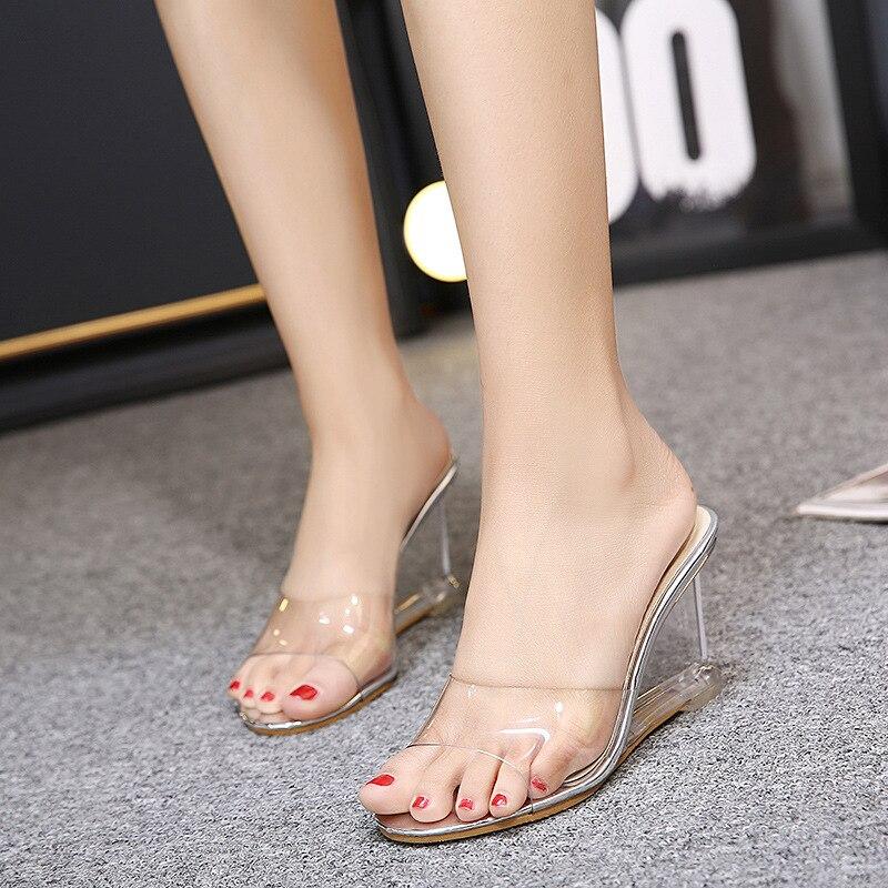 Hokszvy chinelo feminino salto alto verão sapatos femininos palavra fivela simples sandálias cunha transparente sapatos claros LFD-833-2
