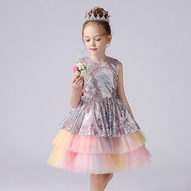 فساتين قوس قزح ترتر للبنات إصدار 2021 للأطفال فستان رسمي أنيق لحفلات الزفاف وكعك الأطفال وكعك توتو وكرة الأميرات