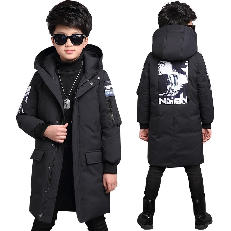 الأولاد الشتاء سترة-30 درجة الأطفال الملابس الدافئة أسفل معطف سترة هوديي للماء سميكة قميص الاطفال سترة