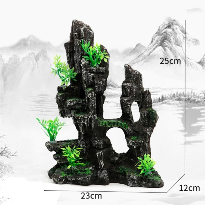 Resin Rockery Aquarium Decoration Accessories Artificial Mountain Hill View Rock Decorating Ornament Fish Tank Aquascape Decor