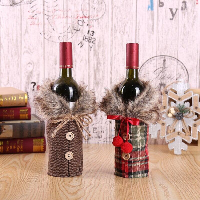 Funda navideña para botella de vino bolsas Santa Claus botella de vino cubierta para regalo bolsa Navidad cena fiesta Decoración de mesa de Navidad Feliz Navidad
