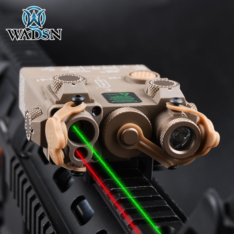 WADSN Airsoft DBAL-A2  Tactical  PEQ-15 RED Green IR Laser Aiming Strobe Light  Hunting Rifle Weapon Flashlight for 20mm Rail