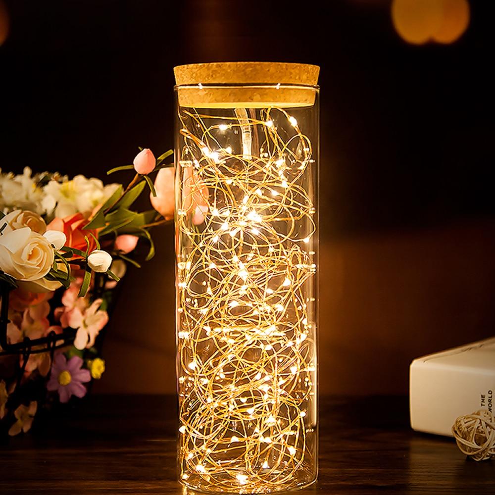 Колпачок, пробка для бутылки, светодиодный Сказочный светильник, батарейный блок, медный провод, светильник для фестиваля, Декор, сказочный светильник, s гирлянда