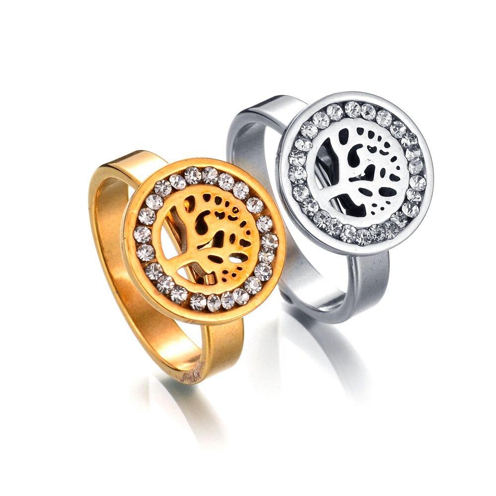 Joyas anello anel popular ajustável para as mulheres anel de casamento anel de árvore de vida na moda forma de árvore de cristal anéis de cobre