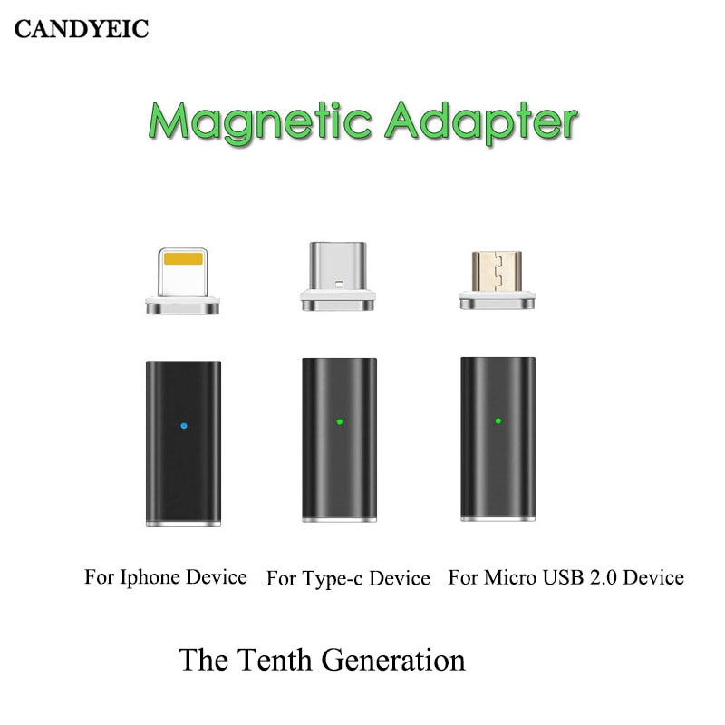 Adaptador magnético de carregamento rápido candyeic para iphone android tipo c micro usb 2.0 dispositivo para micro usb cabo carregador usb c adaptador