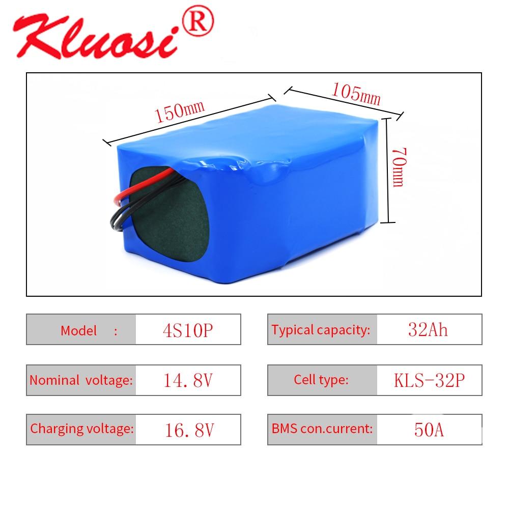 Kلويسي 4S10P 14.8 فولت 32Ah 600 واط 14.4 فولت 16.8 فولت بطارية ليثيوم حزمة مع 50A BMS ل العاكس الذكية روبوت عالية الطاقة المعدات الخ