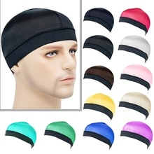 Summer Unisex Silky Dome Waves Cap Male Wide Band Stretchy Wig Cap Satin Breathable Turban Men Hip H