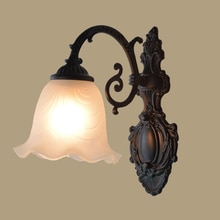 European Iron Art Retro Wall Lamp Flower Shape Balcony Rural Bedside Living Room Passage Creative Bedroom Light