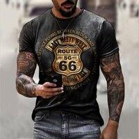 Футболка мужская оверсайз с коротким рукавом, свободная Модная рубашка с 66 буквами и круглым вырезом, в винтажном стиле, лето