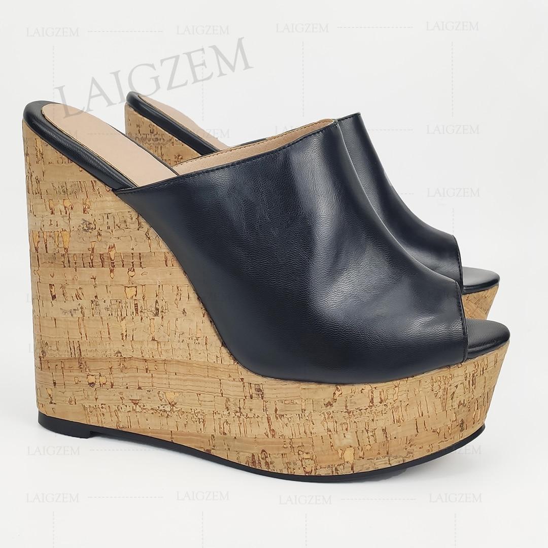 LAIGZEM-صندل نسائي بنعل سميك من الفلين ، حذاء بكعب عالي ، مقاس كبير 41 44 52