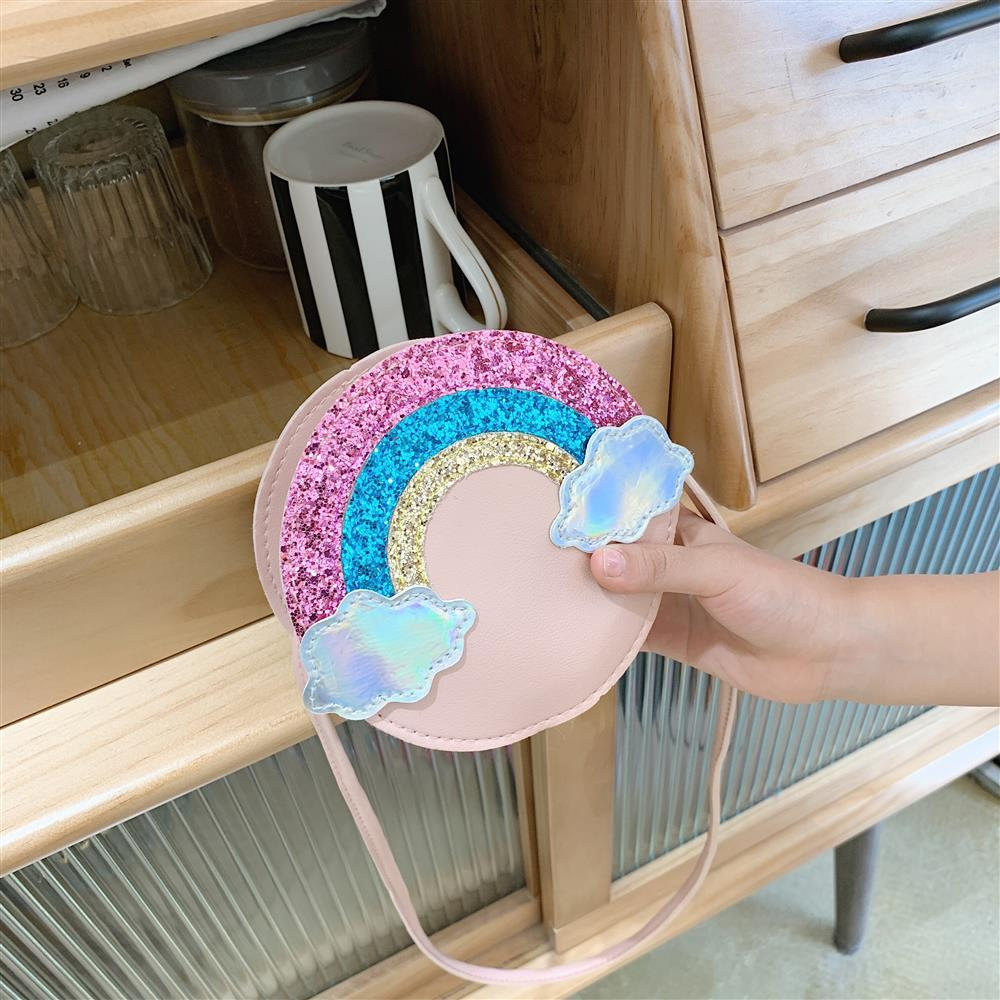 Bebé niños Mini bolsos lindo chicas lentejuelas Arco Iris monedero regalo bolso de hombro pequeño princesa Accesorios