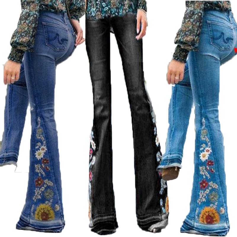Pantalones vaqueros con fondo de campana para Mujer, vaqueros con bordado Floral...