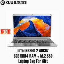KUU KBooK 14.1 pouces Intel N3350 8 go DDR4 RAM 256 go SSD ordinateur portable IPS clavier complet mise en page supplémentaire Sata 2.5 port