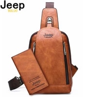 jeep buluo brand travel hiking messenger shoulder bags mens large capacity sling crossbody bag solid men leather bag
