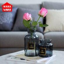 Vase en verre gris chambre de chambre de vase en verre transparent vase articles dameublement de table mini autocollant doré