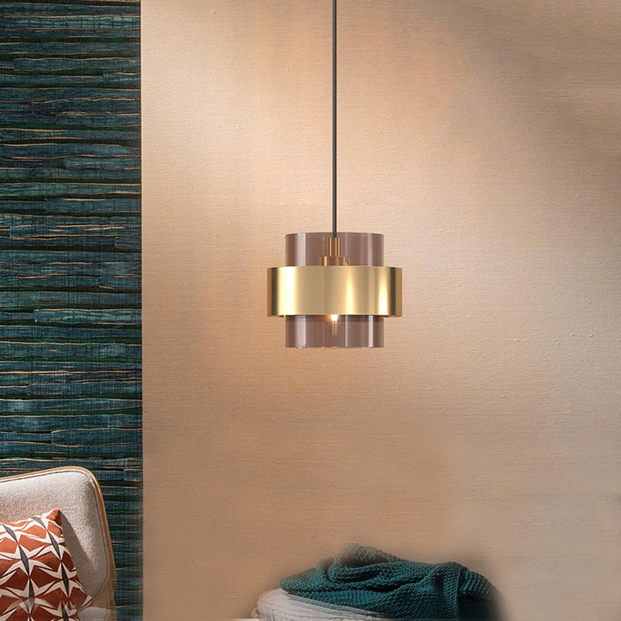 Sanmusion داخلي قلادة led أضواء الزجاج عاكس الضوء فرشاة النحاس إطار لغرفة المعيشة المنزل لوفت الصناعية ديكور الإنارة
