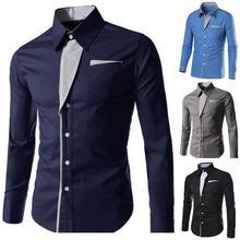 2019 Men Fashion Casual Dress Shirt Mens Long Sleeve Striped Contrast Lapel Button Shirt Business Casual Slim Cardigan Top clot