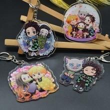 Mignon Anime porte-clés acrylique une face motif lame de fantôme pour hommes femmes en acier inoxydable clé pendentif démon Slayer cadeau bijoux