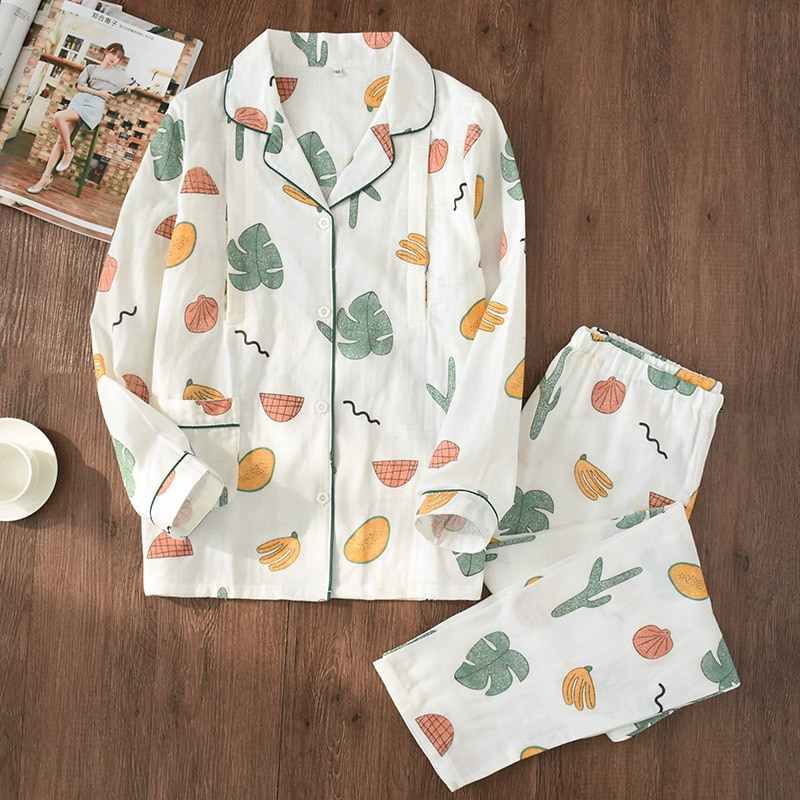 JULY'S SONG Women 2 Pieces Cotton Pajamas Set Soft Sleepwear Long Sleeve Printing Cute Casual Women Autumn Winter Homewear