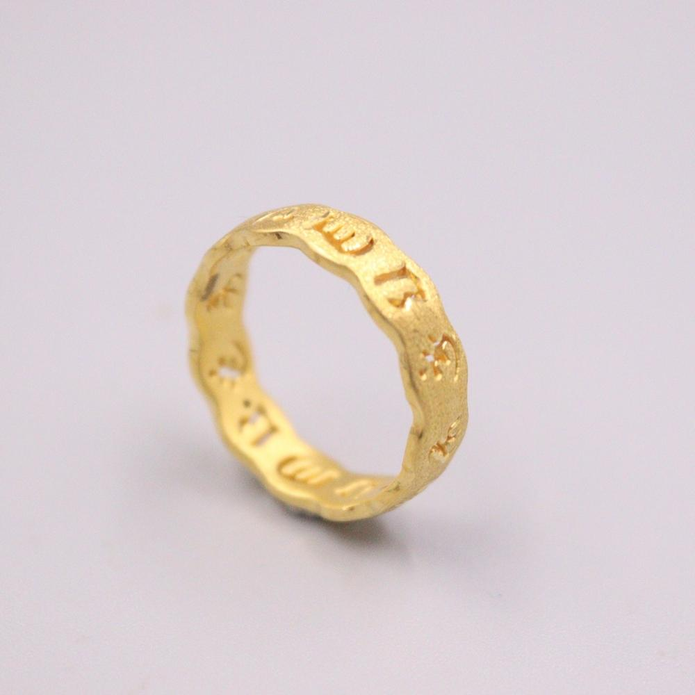 999 24K Yellow Gold Ring For Women Man Real Gold 3D Hard God Six Sutra Buddhism Lucky Female Male Love Wedding Gold Ring 4.5-8.5