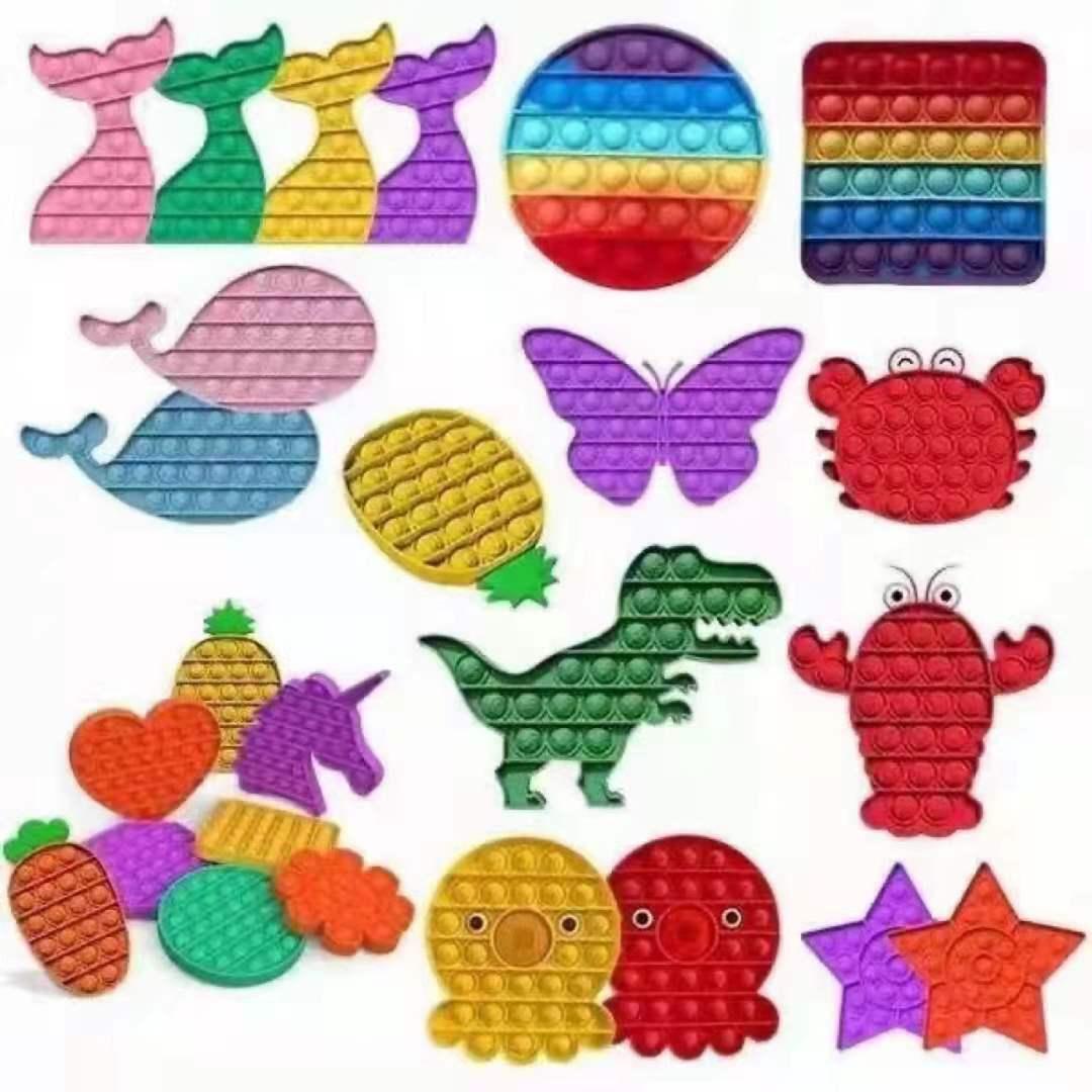 Pop Fidget Reliver Stress Toys  Rainbow Push  Bubble Antistress Toys  Children Simple Dimple Toy To Relieve Autism