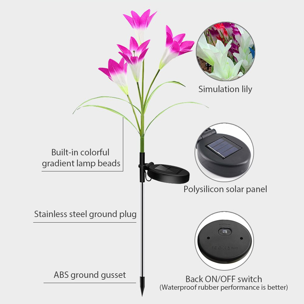 Outdoor Waterproof LED Solar Light Color Lily Flower/Rape Blossom Garden Stake Light Lawn Pathway Wedding Decorative Flower Lamp enlarge