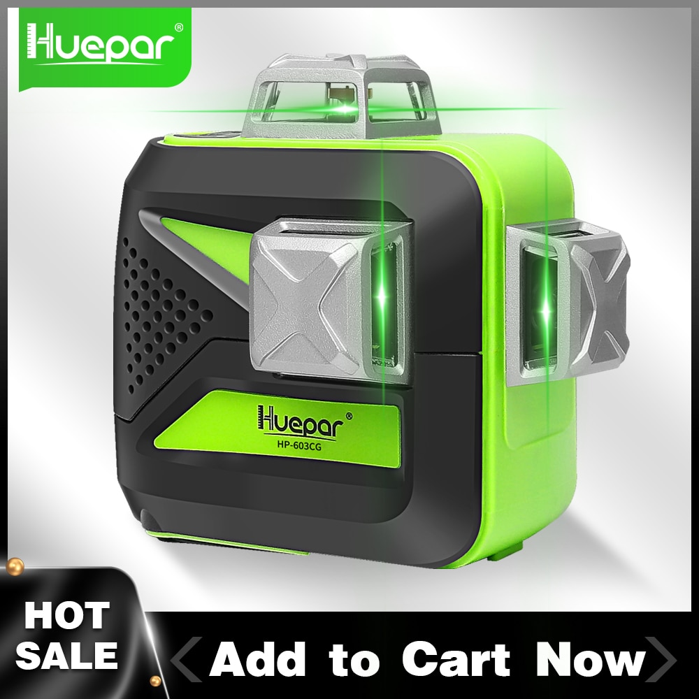 Huepar-مستوى ليزر ثلاثي الأبعاد ذو 12 سطرًا متقاطعًا 360 ذاتي التسوية ، شعاع أخضر ، بطارية جافة و ليثيوم أيون ، غطاء نافذة معدني ، أداة قياس
