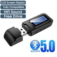 USB Bluetooth приемник передатчик аудио Bluetooth 5,0 адаптер для автомобиля ПК ТВ HD HiFi приемник беспроводной адаптер ЖК 3,5 мм AUX